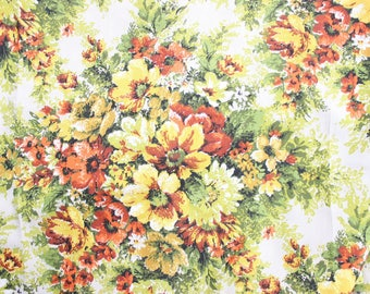 Vintage Shiny Floral Upholstery Fabric 1960's . Heavy Stiff Woven Material . Orange Yellow Rustic Fall Project . Screenprint Hand Print