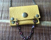 Tribal Leather Jewelry - Talisman Pouch Necklace - Soft Mustard Yellow Leather - Amulet Bag Necklace