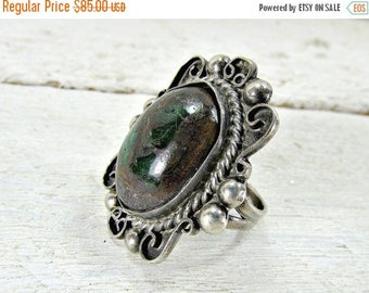 SALE Antique MEXICAN Sterling Silver Ring, Large Silver Ring, Natural Purple Green Stone Ring, Statement Ring, 1930s Antique Fine Estate Jew