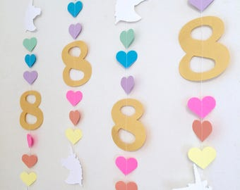 Unicorn Birthday Garland - Magical Unicorn Decoration Backdrop - Rainbow Unicorn Birthday Party  - your color choices