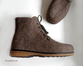 Outdoor felted boots with rubber soles, felted wool, Ankle boots, Brown felted wool shoes, Organic men shoes Warm woolen shoes Made to order