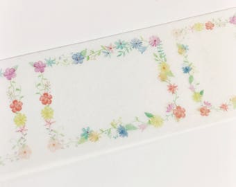 Gorgeous Watercolor Rainbow Colored Floral Frame Tiny Flower Boxes Colorful Flowers Washi Tape 5.5 yards 5 meters 30mm