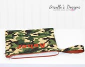 Personalized Wet with Dry Bag, Waterproof Swim Bag with dry pocket, Custom made Reusable Dirty or Clean Bag, Green Camo and orange wet bag