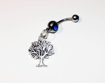 Tree Belly Button Ring, Navel Ring, Hiking Jewelry, Nature, Belly Piercing