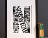 Norwich print  - Graduation gift - University town - Typographic art - Norwich poster - Norwich artwork
