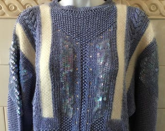 Vintage Nannell 1980's Handknit Ice Blue Shimmer Sequins and Angora Sweater S