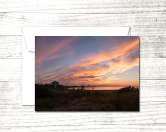 Sunset Photo Note Card | Greeting Card | Dramatic Sky | Fire Island | Blank Greeting Card | Summer Greeting
