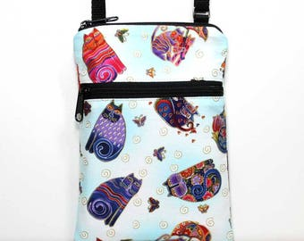 Crossbody Bag Small Cell Phone Shoulder Purse Smart Phone Bag Cell Phone Bag Mini Purse - Cats / Felines - Laurel Burch Fabric-Ready to Ship