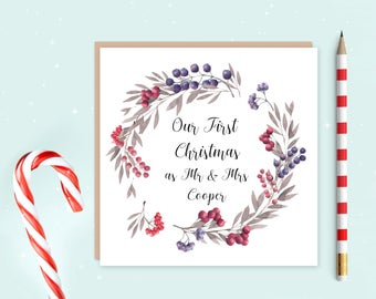 First Christmas as husband and wife card, our first Christmas, your first Christmas, first Christmas as Mr & Mrs, personalised card