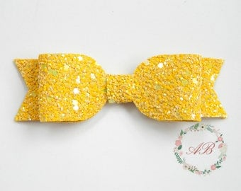 Baby Bow Hair Clip - Baby Hair Bow - Yellow Bow Hair Clip - Glitter Bow Clippie - Baby Bow Hair Clip - Yellow Glitter Hair Clip