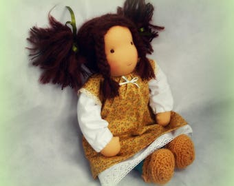 "POLLY -  16"" Waldorf doll made from completely natural materials, brown hair, Waldorf inspired doll"