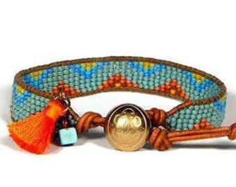 Bead Loom Bracelet Bead Loom Bracelet Aqua Rust Blue Bracelet Leather Wrap Bracelet Fire Mountain Water Seed Bead Bead Bracelet Bohemian