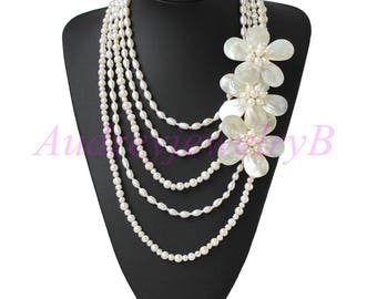5 Strand  Natural Freshwater Pearl  MOP shell Flower Necklace, wedding gift  Statement Necklace