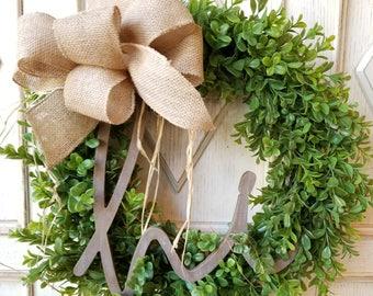 Hi Boxwood Wreath ~ Gift for Her ~ Farmhouse decor ~ Artificial Boxwood Wreath ~ Fixer Upper Decor ~ Everyday Wreath ~ Front Door Wreath