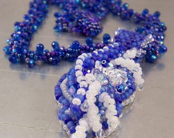 Blue Bead Embroidery Necklace