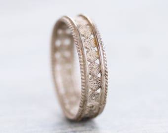 Filigree Wedding Band Ring - 830 Silver Lace - Size 7.5