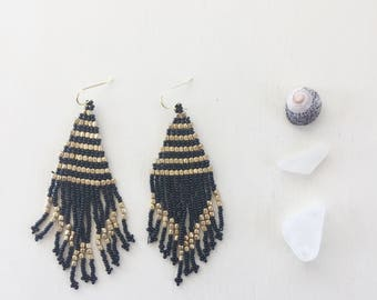 Tropical Days Beaded Tassel Earrings || Black & Gold, Black Tassel Earrings, Beaded Earrings, Tassel Earrings, Long Earrings, Boho Earrings