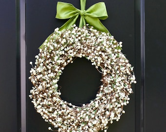 All Season Wreath - Cream Berry Wreath - Four Season Wreath