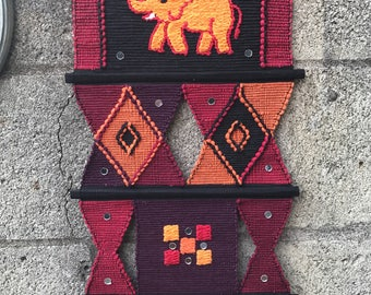 Vintage woven elephant wall hanging // handmade bold, graphic textile