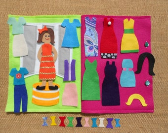 Felt Doll, Dress Up Doll, Quiet Book Dress Up Doll, Felt Toy, Imagination, Imaginative Play,