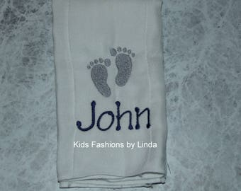 Personalized  Baby Feet Burp Cloth