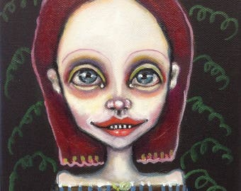 Original, girl, portrait, painting, art, purple