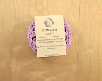 Coaster Set - Purple - Cotton/Hemp Blend