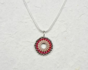 Hand Beaded Industrial Washer Pendant Silver/Matte Fuchsia