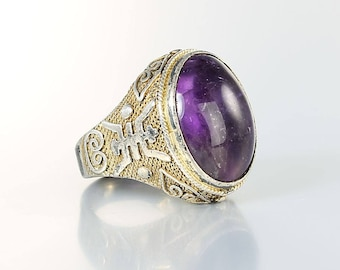 Chinese Export Amethyst Ring, Filigree Sterling silver Ring, Chinese Symbols  vintage jewelry