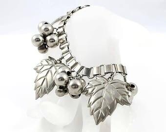 Bookchain Bracelet, Silver Ball Antique Charm Bracelet, 7.5 inch Leaf Fruit Art Deco jewelry