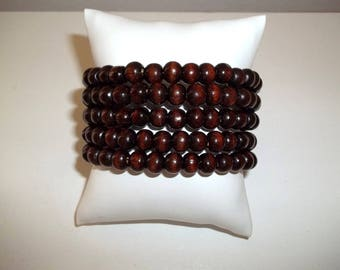 Wood Bracelet, Handmade Bracelet, Coil Bracelet, Memory Wire Bracelet, Wrap Bracelet, Dark Brown Wood Bracelet, Womens Bracelet