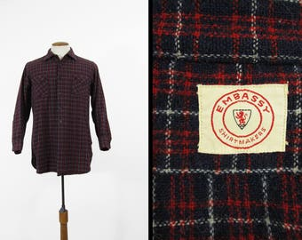 Vintage 50s Red Plaid Wool Shirt Sanforized Embassy Shirtmakers Ivy League - Medium