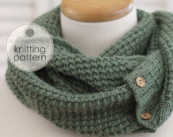 Knitting Pattern Scarf. Knitting Pattern Cowl. Knit Scarf. Knit Patterns. Infinity Scarf Knitting Pattern. Green Knitted Scarf Pattern.