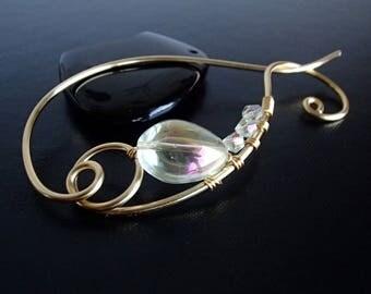 Shawl Pin, Scarf Pin, Brooch pin, Gold pin, Wire pin, Artisan Jewelry