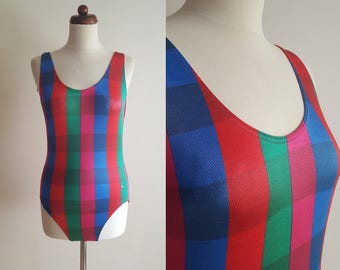 Vintage Swimsuit - 1980's Madras Print One Piece - Size M