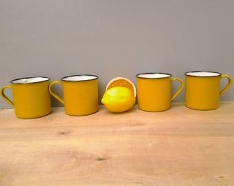 Vintage enamelware mugs - yellow enamel mugs - camping mugs - glamping - graniteware - enamelware mugs - camping mugs - enamelware cups