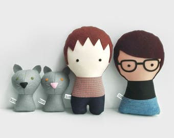 Couple with cats. Personalized Dolls. Handmade Plush Dolls. Custom your own family.