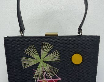 Vintage NICOLE MILLER Embroidered woven Black Raffia and Patent Handbag Purse Beach