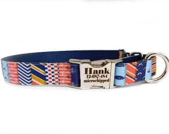 Nautical Patchwork Dog Collar, Personalization is optional