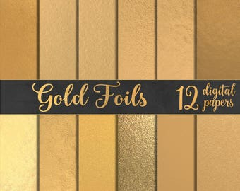 12 gold foil digital papers, gold digital papers, digital gold foil, gold backgrounds, digital gold leaf, gold textures DIGITAL DOWNLOAD