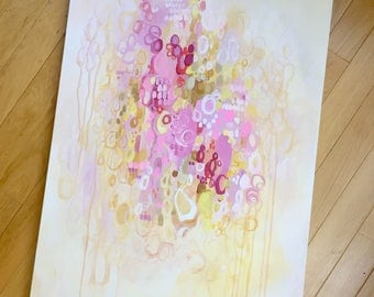 "Blush pink, cream, and golds. 36""x24"" original by melanie keskine"