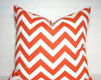 FALL is COMING SALE Overstock Sale Outdoor Orange and White Chevron Geometric Zigzag Pillow Cover Home Decor by HomeLiving Size 20x20