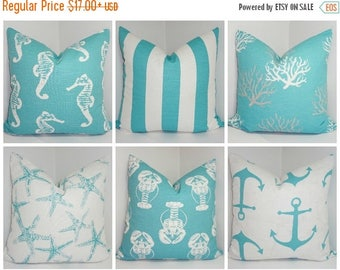 FALL is COMING SALE Nautical Decorative Pillow Cover Starfish Seahorse Stripe Coral Blue/White Beach Ocean Pillow Cover All Sizes