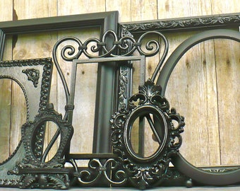 Large Glossy Black and Matte ORNATE Picture Frame Set Collection Vintage Empty Hollywood Regency Wall Decor