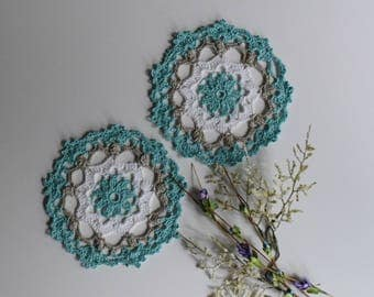 "Small Crochet Doily Pair - Mint Green and Taupe - Lacy Small Mini 6"" - Set of 2"
