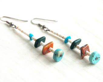 Vintage Southwest Dangle Earrings Turquoise Shell Dangles Old Southwestern Dangles Blue White Amber
