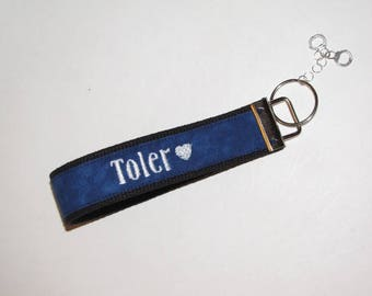 Thin Blue Line Police Wife Keyfob With Handcuff Charms