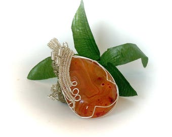 Orange Agate Necklace Wire Wrapped Jewelry  Agate Pendant Necklace Gemstone Jewelry