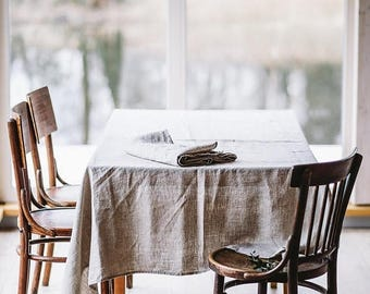 Natural Linen Tablecloth, Table Decoration, Rustic Linen Tablecloth, Light Brown Table Cover, Linen Table Cover, Rustic Tablecloth,