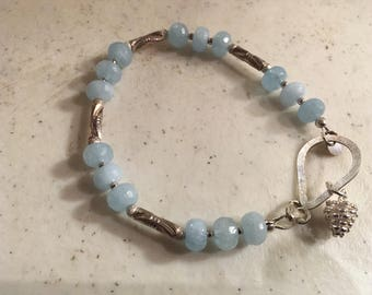Aquamarine Bracelet - March Birthstone - Sterling Silver Jewelry - Blue Gemstone Jewellery - Pine Cone Charm - Luxe - Fashion